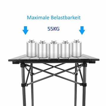 Qisiewell Aluminium Klapptisch Campingtisch Multifunktionstisch Camping Wandern Reisen Picknick Sonstige Indoor-Outdoor Aktivitaten (52 x 52 x 49 cm) - 4