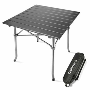Qisiewell Aluminium Klapptisch Campingtisch Multifunktionstisch Camping Wandern Reisen Picknick Sonstige Indoor-Outdoor Aktivitaten (52 x 52 x 49 cm) - 1