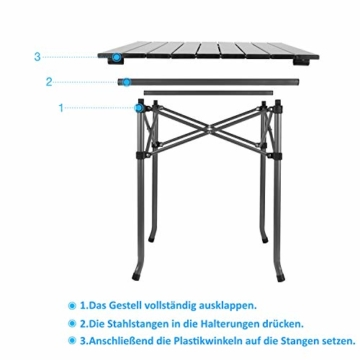 Qisiewell Aluminium Klapptisch Campingtisch Multifunktionstisch Camping Wandern Reisen Picknick Sonstige Indoor-Outdoor Aktivitaten (52 x 52 x 49 cm) - 5
