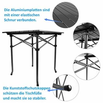 Qisiewell Aluminium Klapptisch Campingtisch Multifunktionstisch Camping Wandern Reisen Picknick Sonstige Indoor-Outdoor Aktivitaten (52 x 52 x 49 cm) - 7