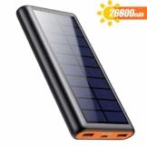 QTshine Solar Powerbank 26800mAh, Externer Akku Ladegerät, Solar Power Bank Pack mit 2 Ausgängen speziell für Aktivitäten im Freien, kompatibel mit Allen Smartphones, Tablets und USB-Geräten - 1