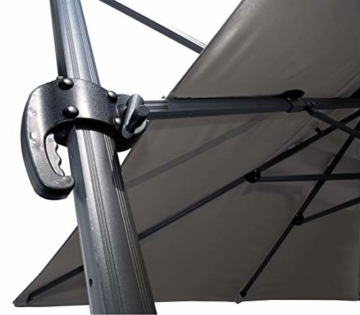 QUICK STAR Ampelschirm Premium Mallorca 3x3m Grau mit Schutzhülle UV 50 Terrassenschirm Sonnenschirm - 2