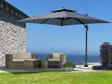 QUICK STAR Ampelschirm Premium Mallorca 3x3m Grau mit Schutzhülle UV 50 Terrassenschirm Sonnenschirm - 1