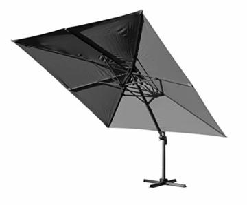 QUICK STAR Ampelschirm Premium Mallorca 3x3m Grau mit Schutzhülle UV 50 Terrassenschirm Sonnenschirm - 6