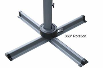 QUICK STAR Ampelschirm Premium Mallorca 3x3m Grau mit Schutzhülle UV 50 Terrassenschirm Sonnenschirm - 7