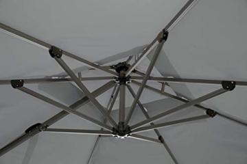 QUICK STAR Ampelschirm Premium Mallorca 3x3m Grau mit Schutzhülle UV 50 Terrassenschirm Sonnenschirm - 8