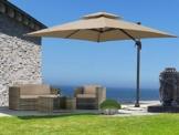 QUICK STAR Ampelschirm Premium Mallorca 3x3m Sand UV 50 Terrassenschirm Sonnenschirm - 1
