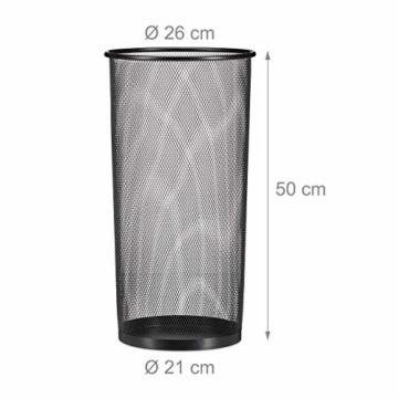 Relaxdays Schirmständer Metall, runder Schirmhalter aus Korbgeflecht, Stockhalter universal, 26cm Ø, 50cm hoch, schwarz - 4