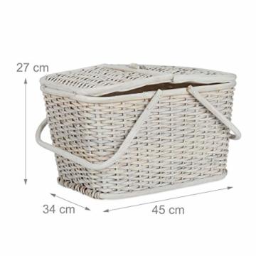 Relaxdays, Weiß Picknickkorb mit Deckel, geflochten, Stoffbezug, Henkel, großer Tragekorb, stabil, handgefertigt, Rattan, 25 Liter - 2