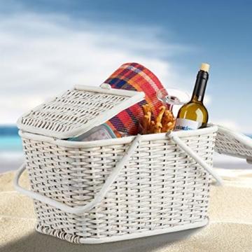 Relaxdays, Weiß Picknickkorb mit Deckel, geflochten, Stoffbezug, Henkel, großer Tragekorb, stabil, handgefertigt, Rattan, 25 Liter - 3