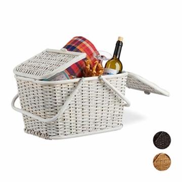 Relaxdays, Weiß Picknickkorb mit Deckel, geflochten, Stoffbezug, Henkel, großer Tragekorb, stabil, handgefertigt, Rattan, 25 Liter - 1