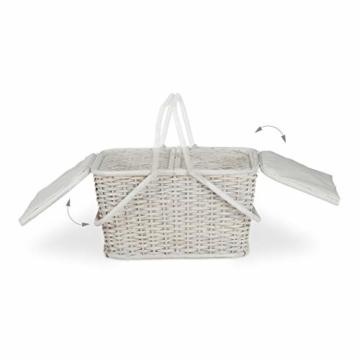 Relaxdays, Weiß Picknickkorb mit Deckel, geflochten, Stoffbezug, Henkel, großer Tragekorb, stabil, handgefertigt, Rattan, 25 Liter - 5