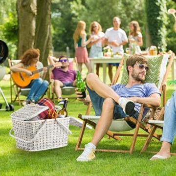 Relaxdays, Weiß Picknickkorb mit Deckel, geflochten, Stoffbezug, Henkel, großer Tragekorb, stabil, handgefertigt, Rattan, 25 Liter - 6