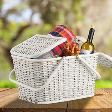 Relaxdays, Weiß Picknickkorb mit Deckel, geflochten, Stoffbezug, Henkel, großer Tragekorb, stabil, handgefertigt, Rattan, 25 Liter - 7