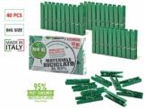Remake Wäscheklammern Ökologische (40 STK) 95% Recycelte Kunststoff. Ideal für Wäscheleinen im Freien und Lebensmitteltaschen. Widerstandsfähig, Winddicht. - 1