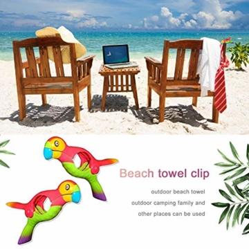 Rich-home 2 STÜCKE Strandtücher Klammer Papagei Vogel Mehrzweck Handtuchklammern Winddicht Kunststoff Clips für Wäsche, Strandtuch, Badetuch, Teppich etc. - 3