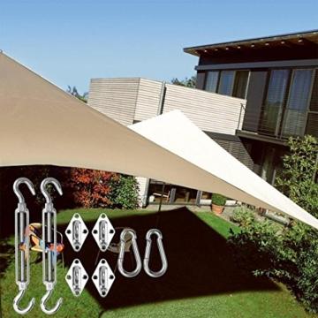 SanGlory Sonnensegel Befestigung Zubehör Edelstahl, Sonnensegel Befestigungsset Montage Aufbau Set mit Schrauben von Viereckigen und Dreieckigen Sonnensegel - 5