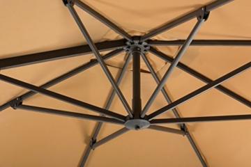 Schneider Sonnenschirm Rhodos Twist, sand, ca. 300 x 300 cm, 8-teilig, quadratisch - 3