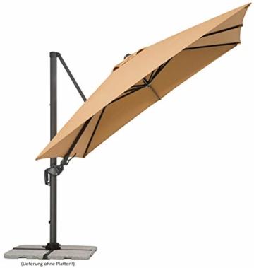 Schneider Sonnenschirm Rhodos Twist, sand, ca. 300 x 300 cm, 8-teilig, quadratisch - 7