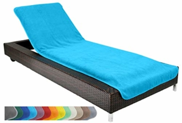 Schonbezug für Gartenliege, Strandliegenauflage, Frottee Schonbezug, 100% Baumwolle - ca.75x200 cm - Türkis - Brandseller - 1