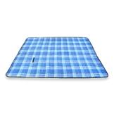 Schramm® Picknickdecke faltbar mit Tragegriff aus Fleece in 3 Farben 2 x 2m Picknickdecken Outdoordecke wasserfeste Unterseite, Farbe:Blau groß kariert - 1