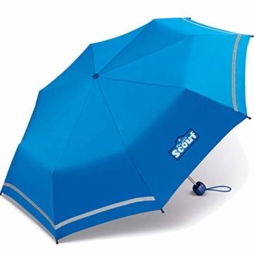 Scout Kinder Regenschirm Taschenschirm Schultaschenschirm mit Reflektorstreifen extra leicht royal Blue - 3