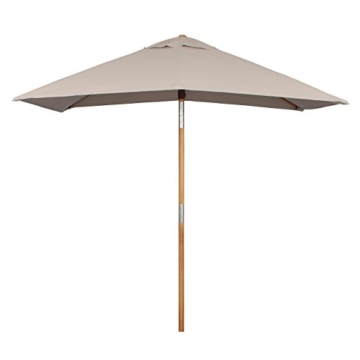 Sekey® 200 × 150 cm Holz-Sonnenschirm Marktschirm Gartenschirm Terrassenschirm Sonnenschutz UV50+ Taupe Rechteckig - 3