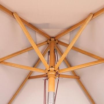 Sekey® 200 × 150 cm Holz-Sonnenschirm Marktschirm Gartenschirm Terrassenschirm Sonnenschutz UV50+ Taupe Rechteckig - 4