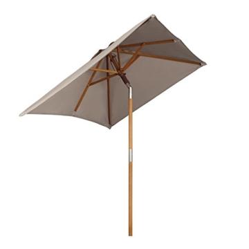 Sekey® 200 × 150 cm Holz-Sonnenschirm Marktschirm Gartenschirm Terrassenschirm Sonnenschutz UV50+ Taupe Rechteckig - 1