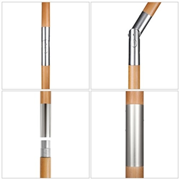 Sekey® 200 × 150 cm Holz-Sonnenschirm Marktschirm Gartenschirm Terrassenschirm Sonnenschutz UV50+ Taupe Rechteckig - 5