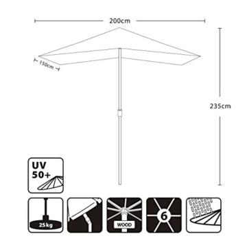 Sekey® 200 × 150 cm Holz-Sonnenschirm Marktschirm Gartenschirm Terrassenschirm Sonnenschutz UV50+ Taupe Rechteckig - 6