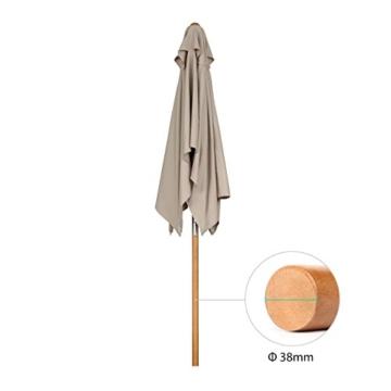 Sekey® 200 × 150 cm Holz-Sonnenschirm Marktschirm Gartenschirm Terrassenschirm Sonnenschutz UV50+ Taupe Rechteckig - 7