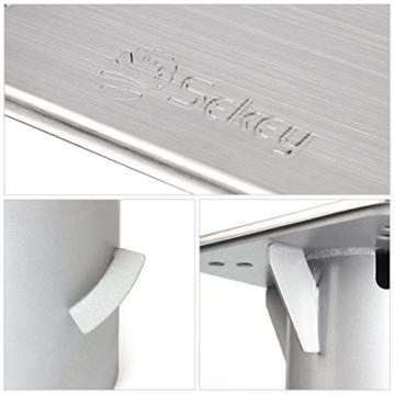 Sekey Metall Universal-Bodenplatte/Sonnenschirmständer für Sonnenschirm/Ampelschirm/Kurbelschirm, Silber - 5