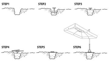 Sekey Metall Universal-Bodenplatte/Sonnenschirmständer für Sonnenschirm/Ampelschirm/Kurbelschirm, Silber - 7