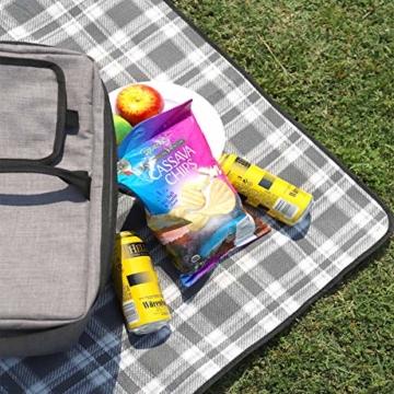 Sekey Outdoor wasserdichte Picknickdecke 200 x 200 cm XXL Große Stranddecke wasserdicht mit Tragegriff - 4