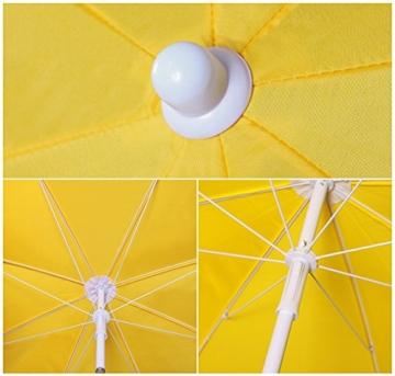 Sekey® Sonnenschirm 160 cm Marktschirm Gartenschirm Terrassenschirm Gelb Rund Sonnenschutz UV20+ - 2