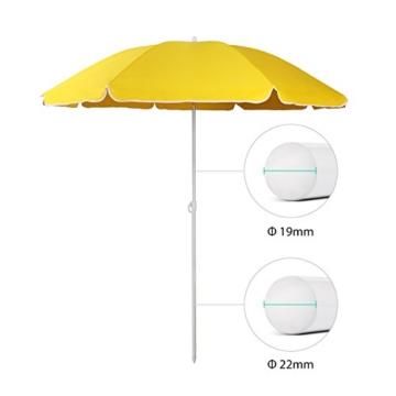 Sekey® Sonnenschirm 160 cm Marktschirm Gartenschirm Terrassenschirm Gelb Rund Sonnenschutz UV20+ - 4