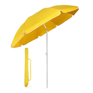 Sekey® Sonnenschirm 160 cm Marktschirm Gartenschirm Terrassenschirm Gelb Rund Sonnenschutz UV20+ - 1