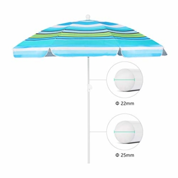 Sekey® Sonnenschirm 200 cm Marktschirm Gartenschirm Terrassenschirm Blaugrüne Streifen Rund Sonnenschutz UV25+ - 2