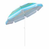 Sekey® Sonnenschirm 200 cm Marktschirm Gartenschirm Terrassenschirm Blaugrüne Streifen Rund Sonnenschutz UV25+ - 1