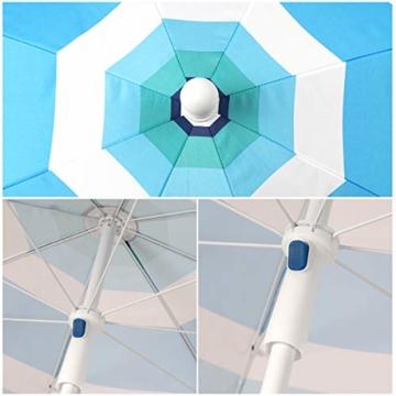 Sekey® Sonnenschirm 200 cm Marktschirm Gartenschirm Terrassenschirm Blaugrüne Streifen Rund Sonnenschutz UV25+ - 3