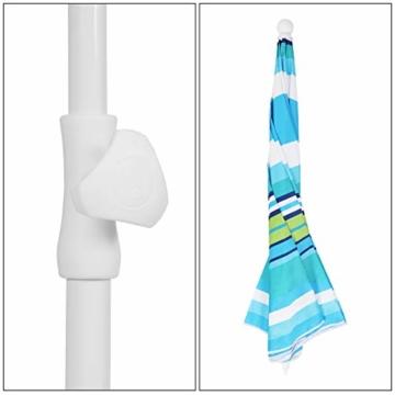 Sekey® Sonnenschirm 200 cm Marktschirm Gartenschirm Terrassenschirm Blaugrüne Streifen Rund Sonnenschutz UV25+ - 5