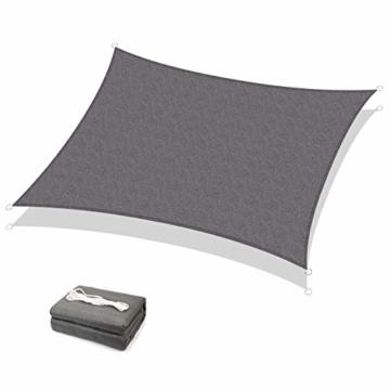 Sekey Sonnensegel Sonnenschutz HDPE Windschutz Wasserabweisend Atmungsaktiv Wetterschutz 90% Beschattung, für Outdoor Garten Terrasse mit Seilen, 3×4m Anthrazit - 1