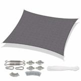 Sekey Sonnensegel Sonnenschutz Rechteckiges HDPE Durchlässig Atmungsaktiv Tear Resistant Wetterschutz UV-Schutz, für Outdoor Garten Terrasse, mit Seilen und Befestigungs Kit, 3×4m Anthrazit - 1
