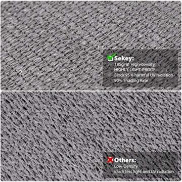Sekey Sonnensegel Sonnenschutz Rechteckiges HDPE Durchlässig Atmungsaktiv Tear Resistant Wetterschutz UV-Schutz, für Outdoor Garten Terrasse, mit Seilen und Befestigungs Kit, 3×4m Anthrazit - 3