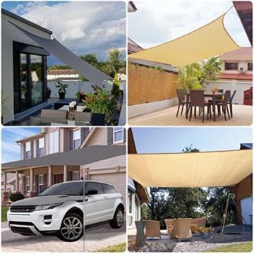Sekey Sonnensegel Sonnenschutz Rechteckiges HDPE Durchlässig Atmungsaktiv Tear Resistant Wetterschutz UV-Schutz, für Outdoor Garten Terrasse, mit Seilen und Befestigungs Kit, 3×4m Anthrazit - 6