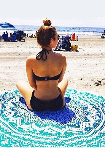 SENYANG Grün Mandala Handwerk Quaste Runde Strandtuch Strand Yoga Matten Schal Schal Tapestry Chiffon Tischdecke Picknickdecke Schal - 2