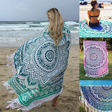 SENYANG Grün Mandala Handwerk Quaste Runde Strandtuch Strand Yoga Matten Schal Schal Tapestry Chiffon Tischdecke Picknickdecke Schal - 7