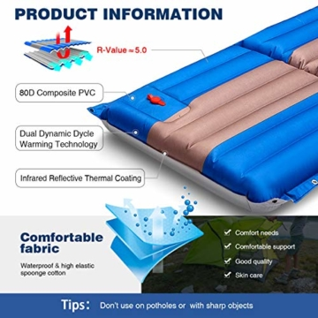 SGODDE Isomatte, 3-faltbar Handpresse Aufblasbare Matratzen, Erweiterbar 12 cm dick Camping Selbstaufblasbare Luftmatratze, Ultraleicht und Tragbare,Wasserdicht und Rutschfest Schlafmatte 198*70*12cm - 2