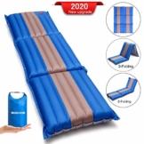 SGODDE Isomatte, 3-faltbar Handpresse Aufblasbare Matratzen, Erweiterbar 12 cm dick Camping Selbstaufblasbare Luftmatratze, Ultraleicht und Tragbare,Wasserdicht und Rutschfest Schlafmatte 198*70*12cm - 1